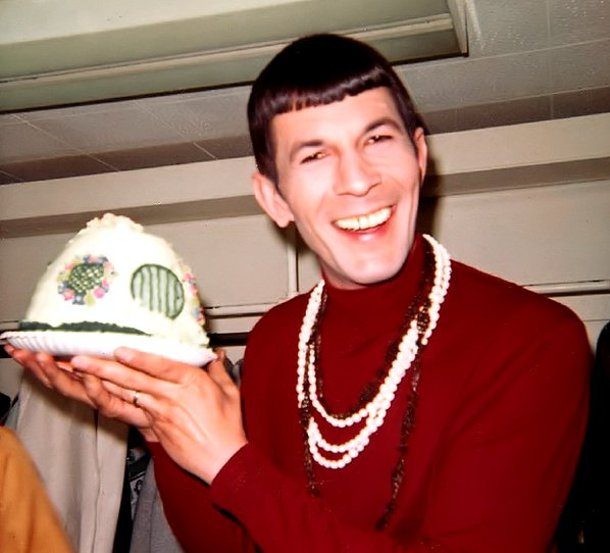 Leonard-Nimoy-with-a-Hobbit-House-Cake-from-1968