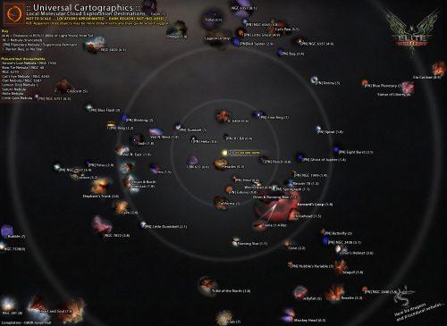 disposizione delle nebulose conosciute, click per ingrandire